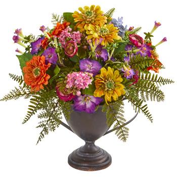 Mixed Floral Artificial Arrangement in Goblet - SKU #1891