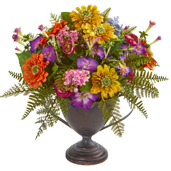 Mixed Floral Artificial Arrangement in Goblet - SKU #1891