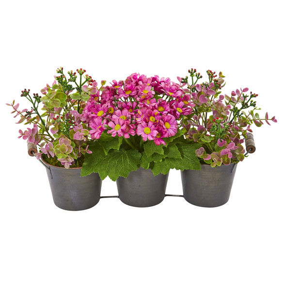 Triple Potted Daisy and Eucalyptus Artificial Arrangement in Metal Planter - SKU #1892