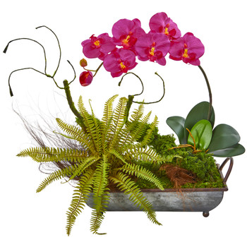 Phelaenopsis Orchid and Fern Artificial Arrangement in Metal Tray - SKU #1893