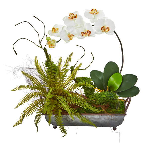 Phelaenopsis Orchid and Fern Artificial Arrangement in Metal Tray - SKU #1893 - 5