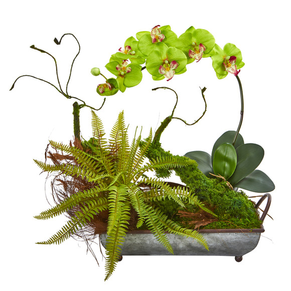Phelaenopsis Orchid and Fern Artificial Arrangement in Metal Tray - SKU #1893 - 7