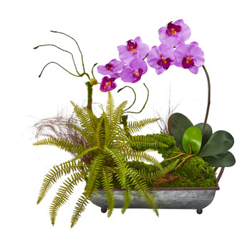 Phelaenopsis Orchid and Fern Artificial Arrangement in Metal Tray - SKU #1893-MA