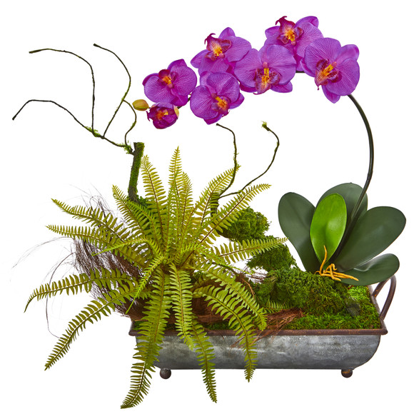 Phelaenopsis Orchid and Fern Artificial Arrangement in Metal Tray - SKU #1893 - 1