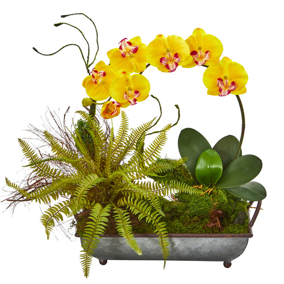 Phelaenopsis Orchid and Fern Artificial Arrangement in Metal Tray - SKU #1893 - 4