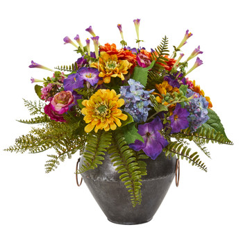 Mixed Flowers Artificial Arrangement in Metal Bowl - SKU #1894