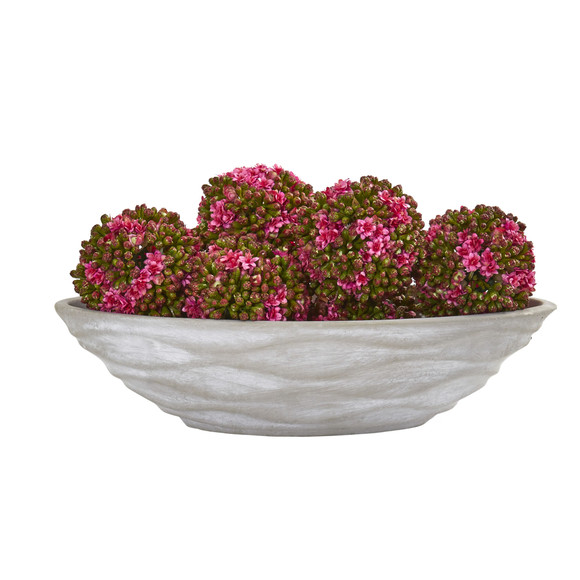 Artificial Kalanchoe Balls Set of 6 with Decorative Vase - SKU #1895