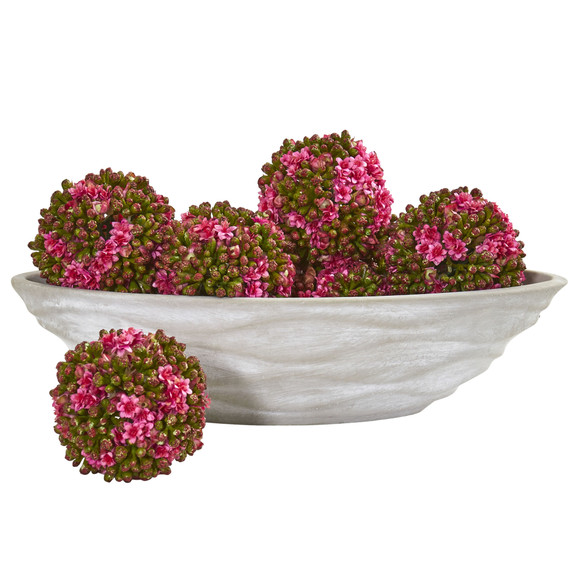 Artificial Kalanchoe Balls Set of 6 with Decorative Vase - SKU #1895 - 1