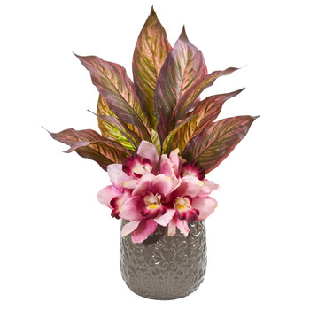 Cymbidium Orchid and Musa Leaf Artificial Arrangement - SKU #1896-YL