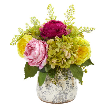 Rose Peony and Hydrangea Artificial Arrangement in Vase - SKU #1897