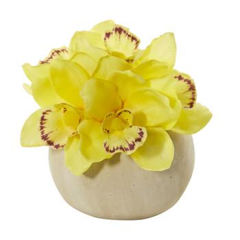 Cymbidium Orchid Artificial Arrangement in Stone Vase - SKU #1898