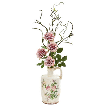 Vintage Rose Artificial Arrangement in Floral Design Pitcher - SKU #1899