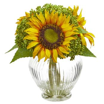 Sunflower Artificial Arrangement in Ribbed Glass Vase - SKU #1900