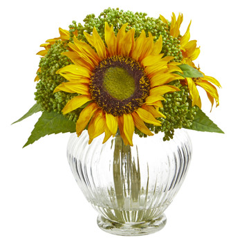 Sunflower Artificial Arrangement in Ribbed Glass Vase - SKU #1900