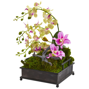 Mixed Orchid Artificial Arrangement in Decorative Tray - SKU #1901