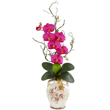 Phalaenopsis Orchid and Twig Artificial Arrangement in Floral Jar - SKU #1902