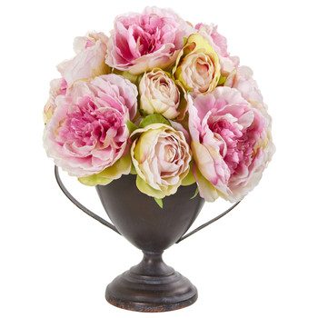 11 Peony Artificial Arrangement in Metal Goblet - SKU #1903