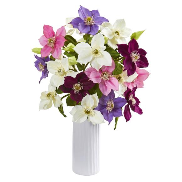 21 Anemone Artificial Arrangement in White Vase - SKU #1905 - 6