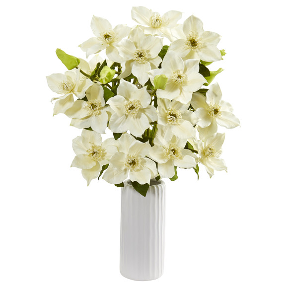 21 Anemone Artificial Arrangement in White Vase - SKU #1905 - 8