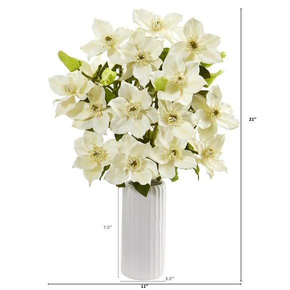 21 Anemone Artificial Arrangement in White Vase - SKU #1905 - 9