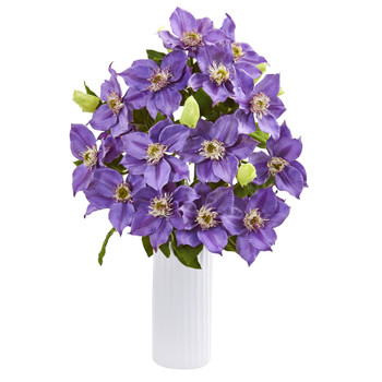 21 Anemone Artificial Arrangement in White Vase - SKU #1905