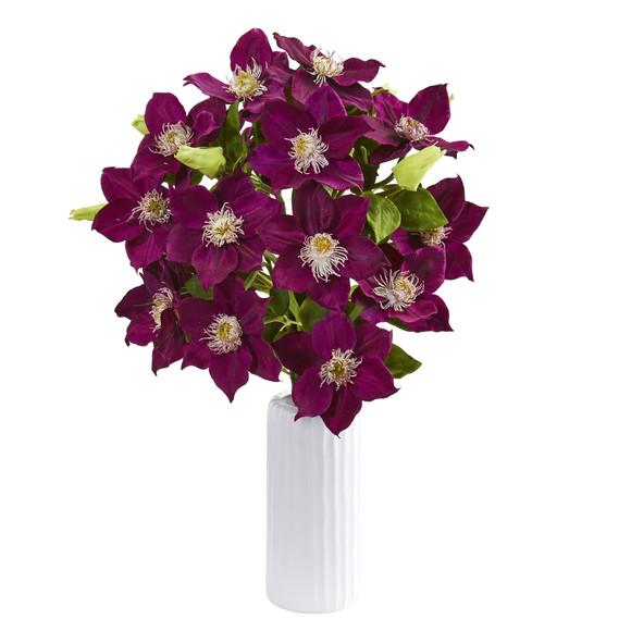 21 Anemone Artificial Arrangement in White Vase - SKU #1905 - 4