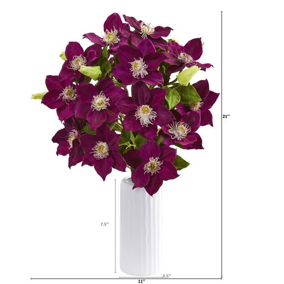 21 Anemone Artificial Arrangement in White Vase - SKU #1905 - 5