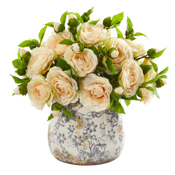 Camellia Artificial Arrangement in Decorative Vase - SKU #1906-PH