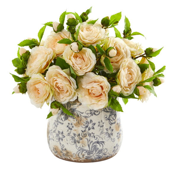 Camellia Artificial Arrangement in Decorative Vase - SKU #1906 - 2