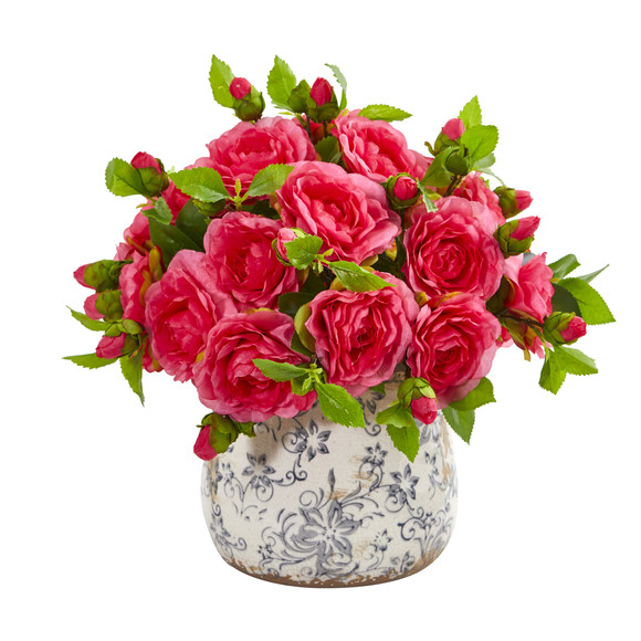 Camellia Artificial Arrangement in Decorative Vase - SKU #1906