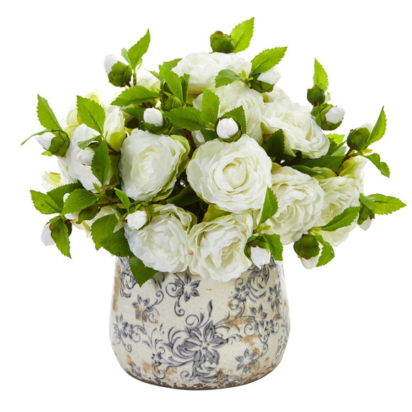 Camellia Artificial Arrangement in Decorative Vase - SKU #1906 - 1