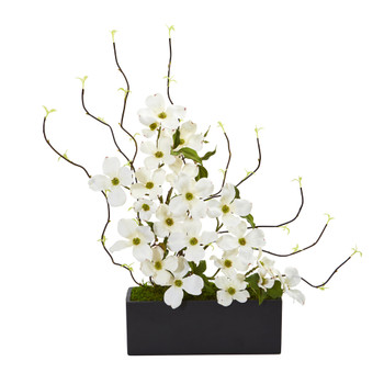 Dogwood and Willow Artificial Arrangement in Black Vase - SKU #1907