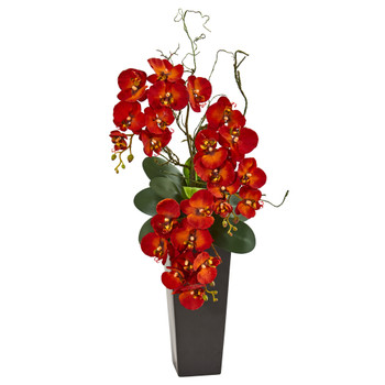 Autumn Phalaenopsis Artificial Arrangement in Black Vase - SKU #1908