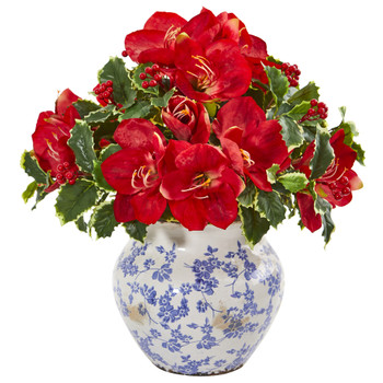 Amaryllis and Variegated Holly Leaf Artificial Arrangement - SKU #1909-RD
