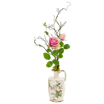Rose Artificial Arrangement in Floral Design Pitcher - SKU #1910