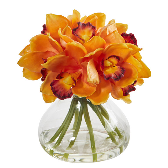 Cymbidium Orchid Artificial Arrangement in Glass Vase - SKU #1912 - 3