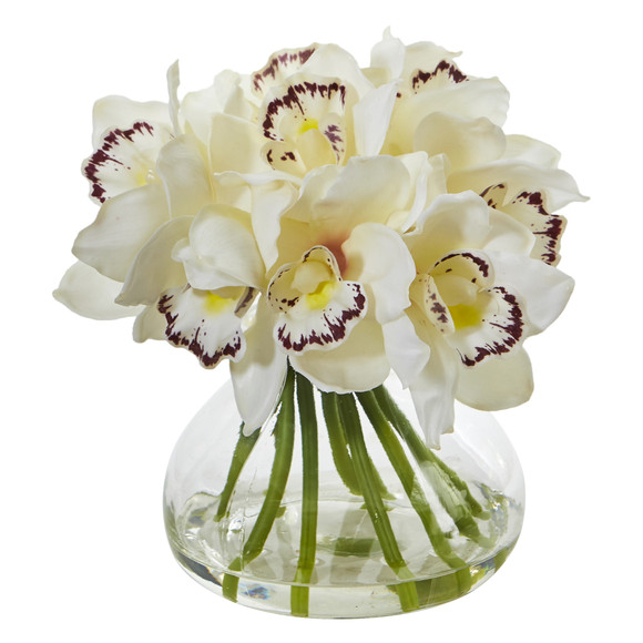Cymbidium Orchid Artificial Arrangement in Glass Vase - SKU #1912 - 1