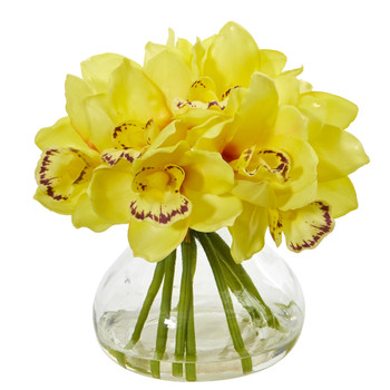 Cymbidium Orchid Artificial Arrangement in Glass Vase - SKU #1912-YL