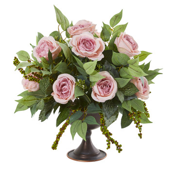 Roses and Mix Greens Artificial Arrangement in Metal Chalice - SKU #1913