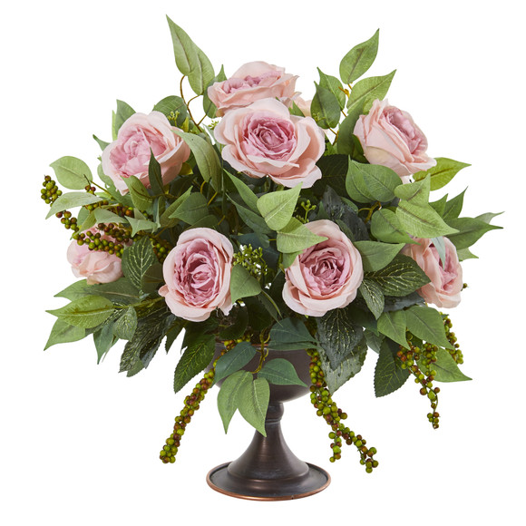 Roses and Mix Greens Artificial Arrangement in Metal Chalice - SKU #1913-PK