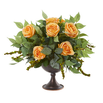 Roses and Mix Greens Artificial Arrangement in Metal Chalice - SKU #1913-YL