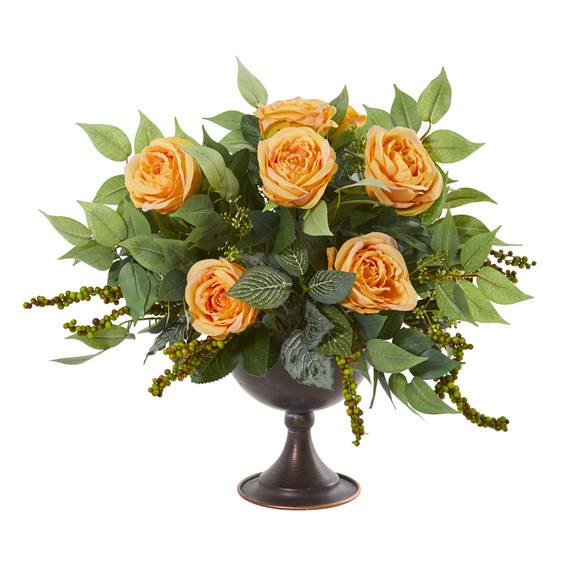 Roses and Mix Greens Artificial Arrangement in Metal Chalice - SKU #1913 - 1