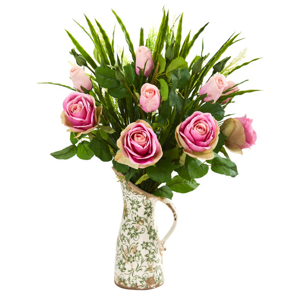 Rose and Vanilla Grass Artificial Arrangement in Vase - SKU #1914