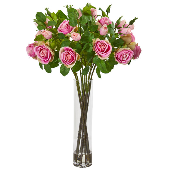 Rose Artificial Arrangement in Cylinder Vase - SKU #1915-PK