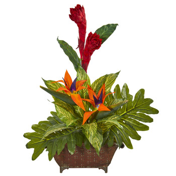 Bird of Paradise and Mix Greens Artificial Arrangement - SKU #1916