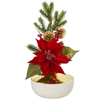 Poinsettia Artificial Arrangement in Decorative Vase - SKU #1917