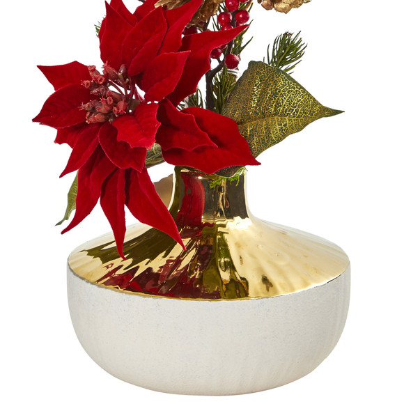 Poinsettia Artificial Arrangement in Decorative Vase - SKU #1917 - 1