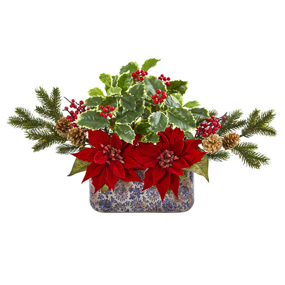 Poinsettia Berry and Holly Artificial Arrangement in Vase - SKU #1918