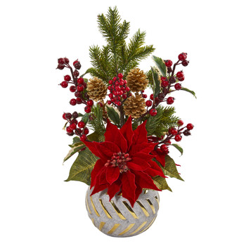 Poinsettia Berry and Pine Artificial Arrangement in Designer Vase - SKU #1919
