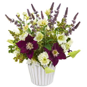 Mixed Artificial Flower Arrangement in Decorative Vase - SKU #1920